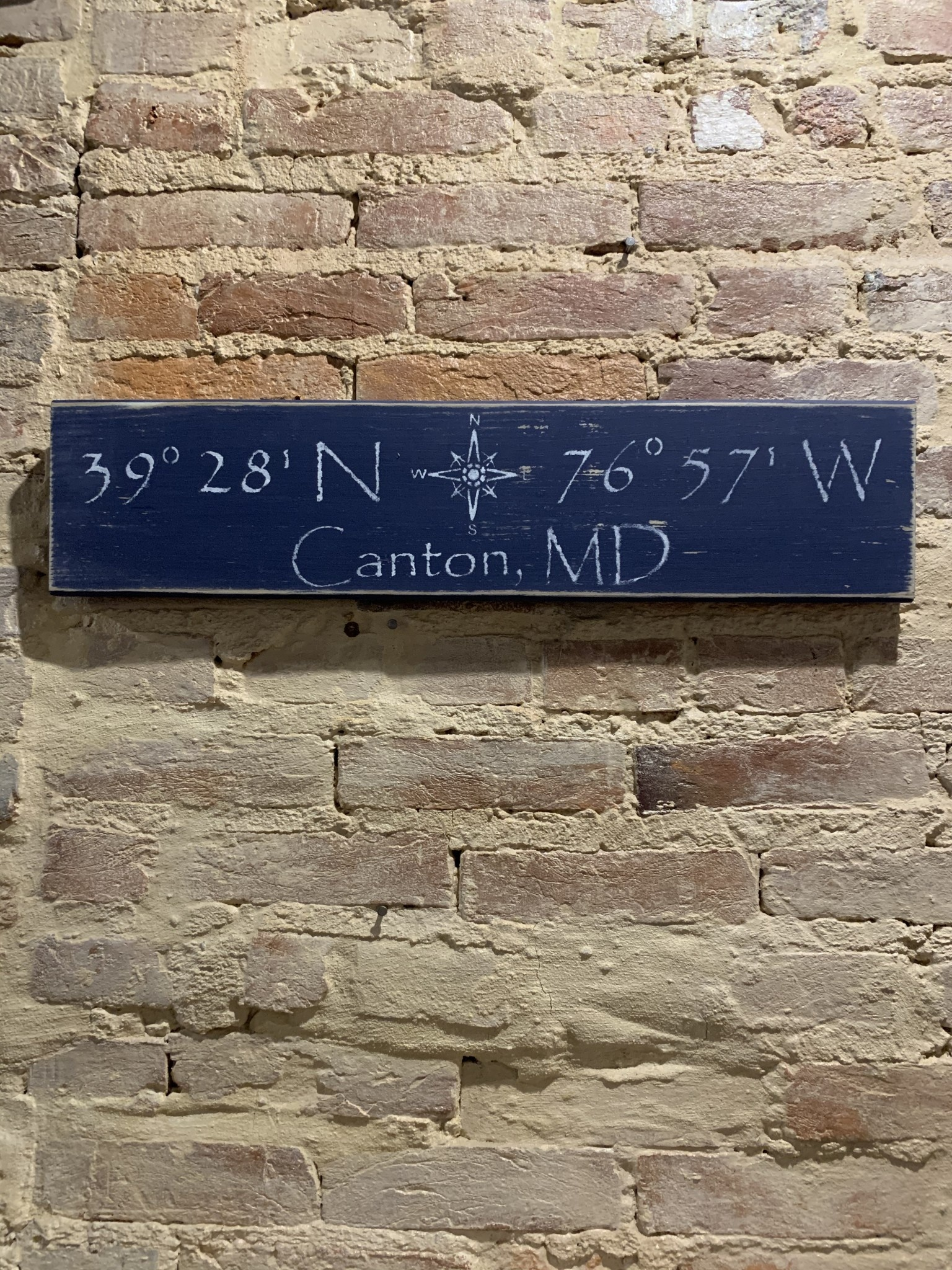 The Painted Mermaid Canton Coordinates Sign - Navy Compass