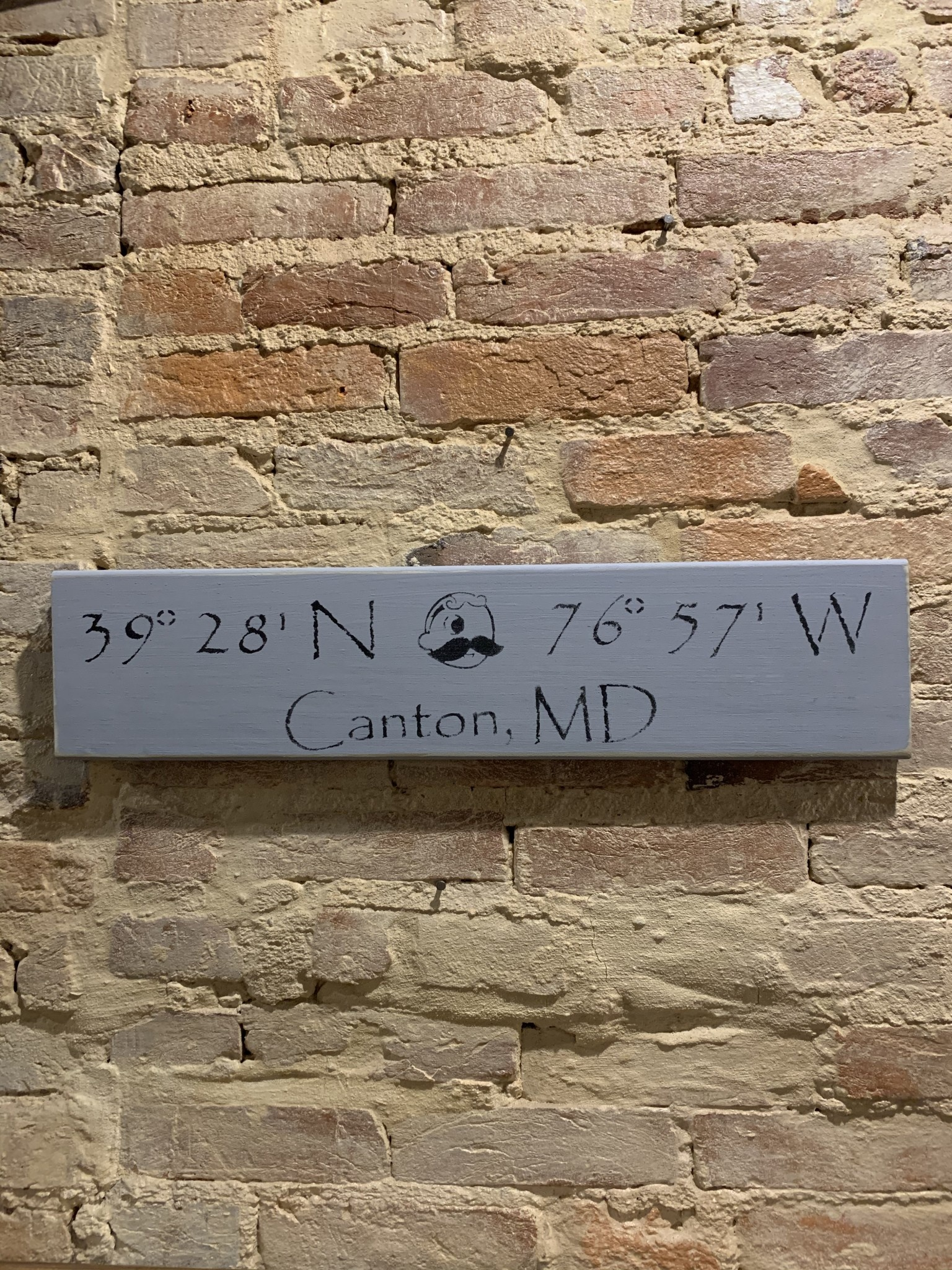 The Painted Mermaid Canton Coordinates Sign - Gray Boh