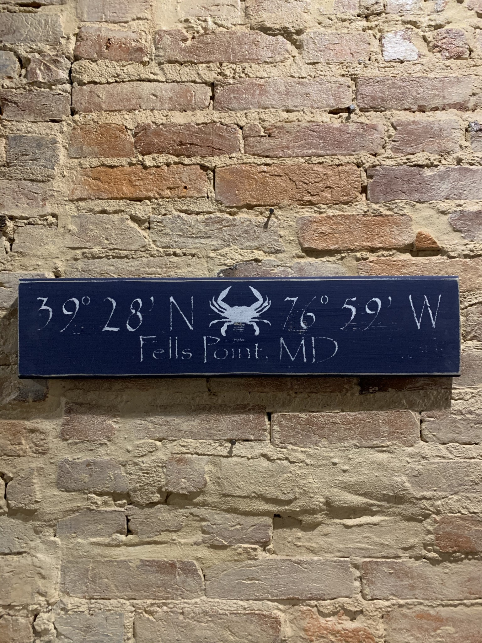 The Painted Mermaid Fells Point Coordinates Sign - Navy Crab