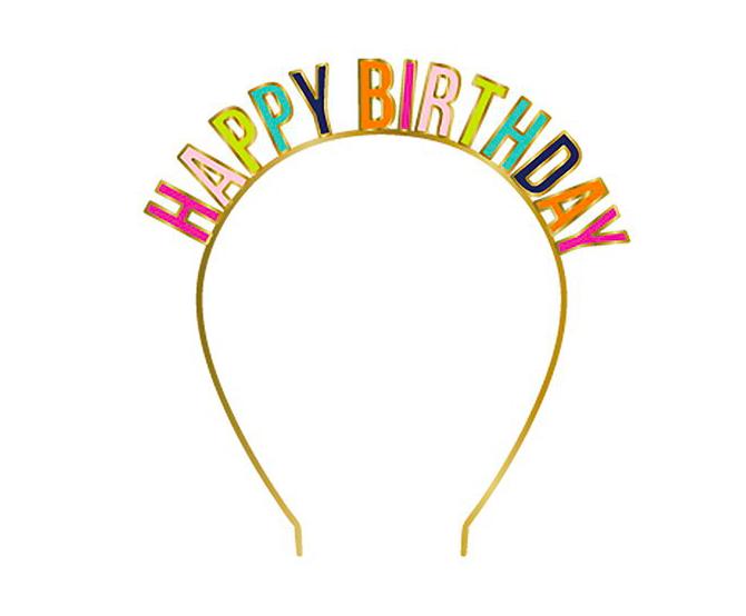 Slant Headband - Happy Birthday