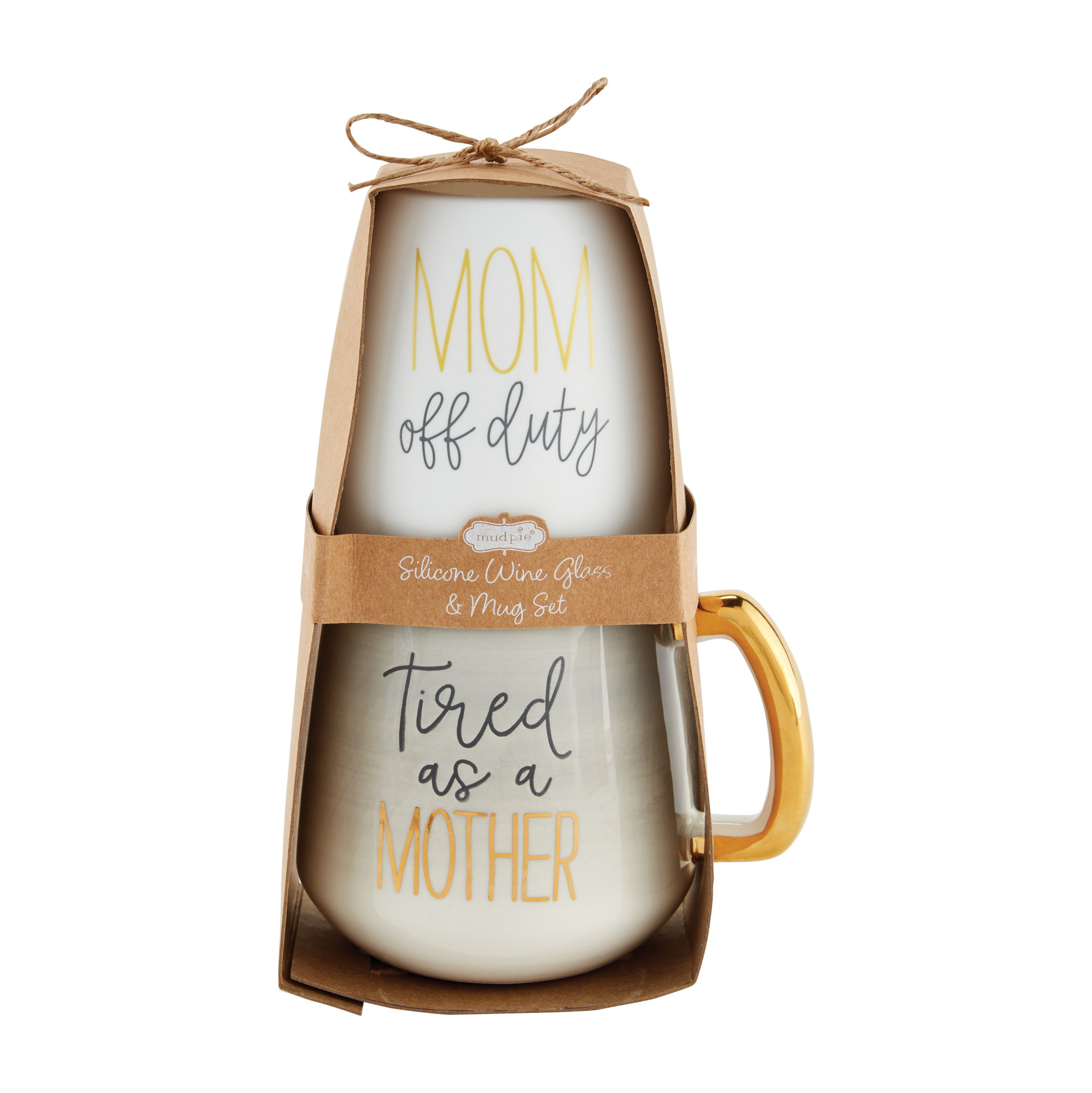 Mud Pie GREY MOM SILICONE WINE MUG SET