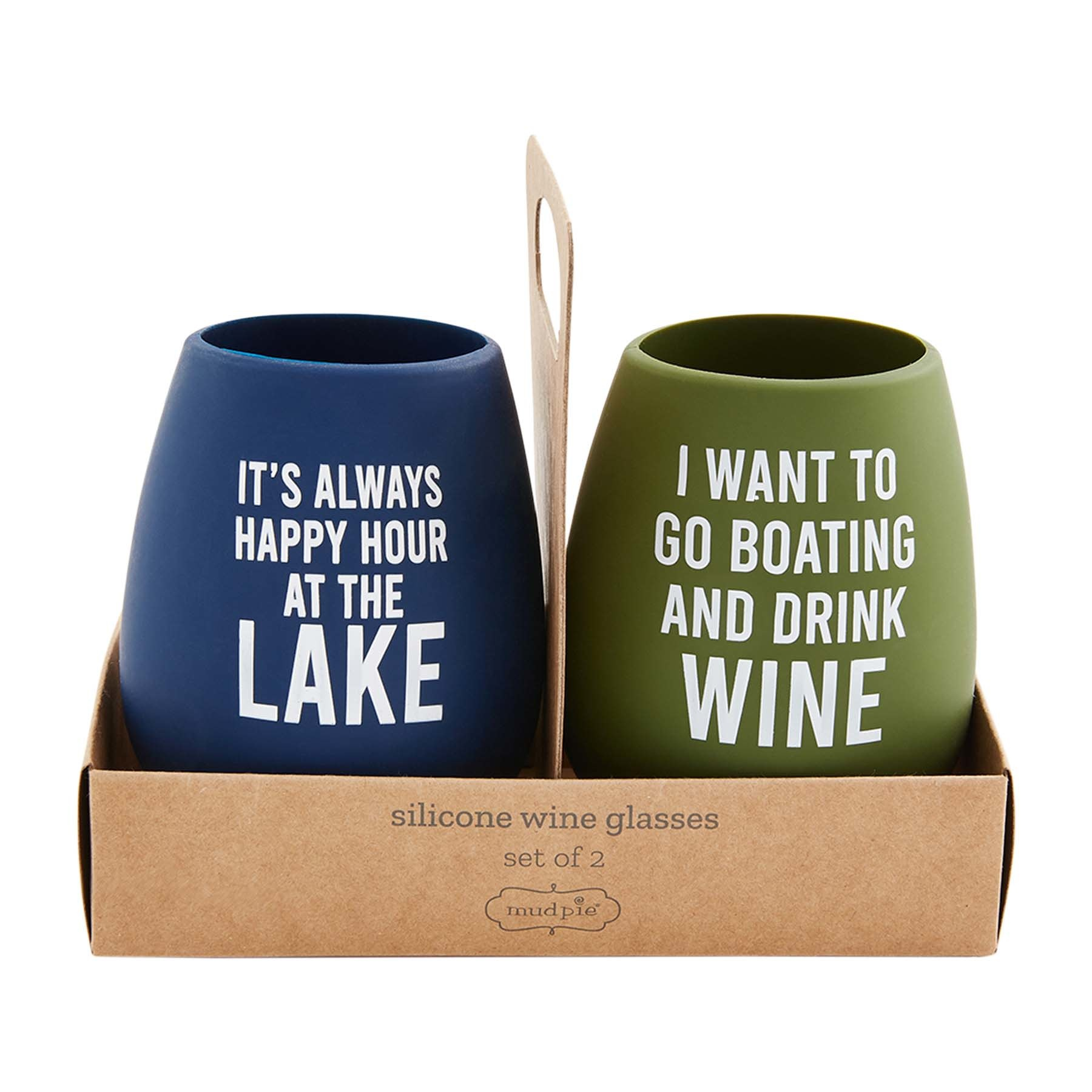 Mud Pie HAPPY LAKE SILICONE GLASSES