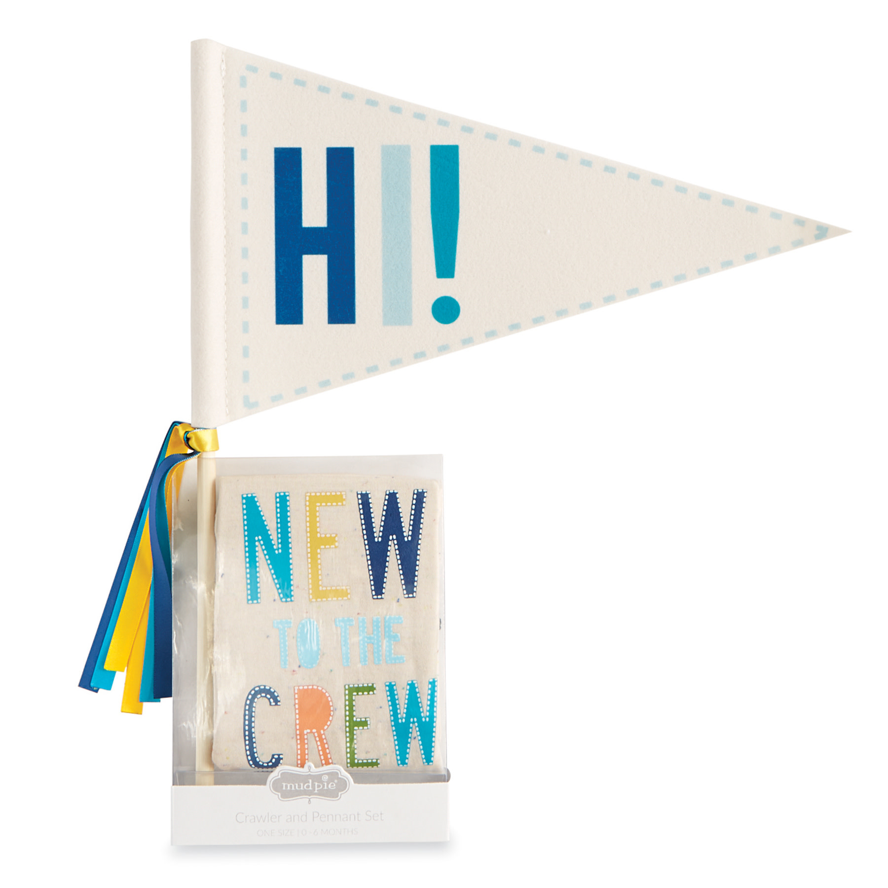 Mud Pie Blue New To The Crew Crawler & Pennant Set