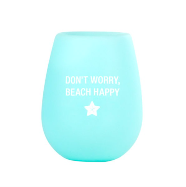 About Face Designs Beach Happy Silicone Wine Glass