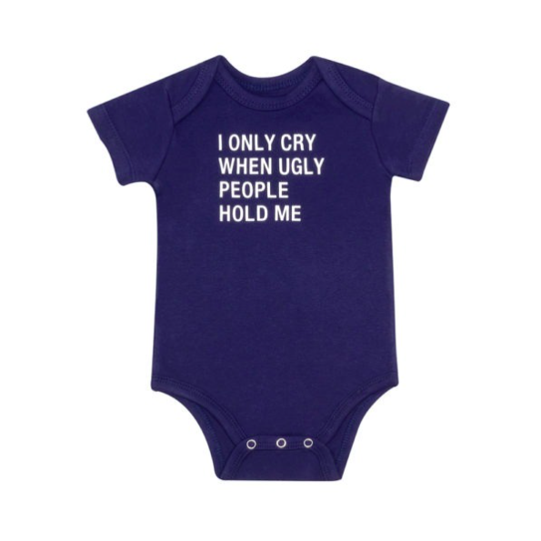 About Face Designs I Only Cry Baby Onesie