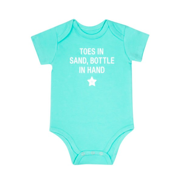 About Face Designs Toes In Sand Baby Onesie