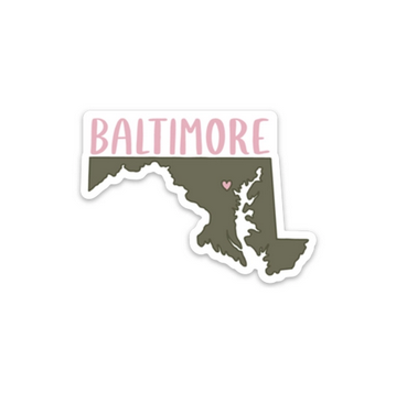 Row House 14 Baltimore, Maryland Sticker - Olive Green and Rose Pink