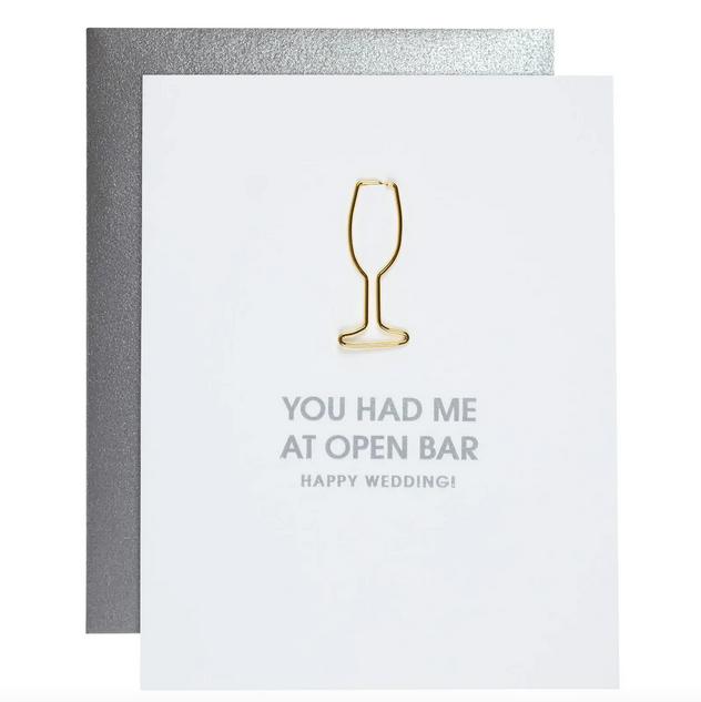 Chez Gagne Open Bar Wedding Paper Clip Card
