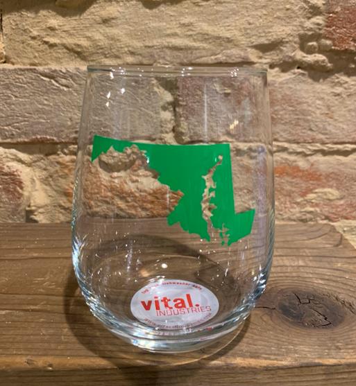 Vital Industries Green Maryland Wine Glass