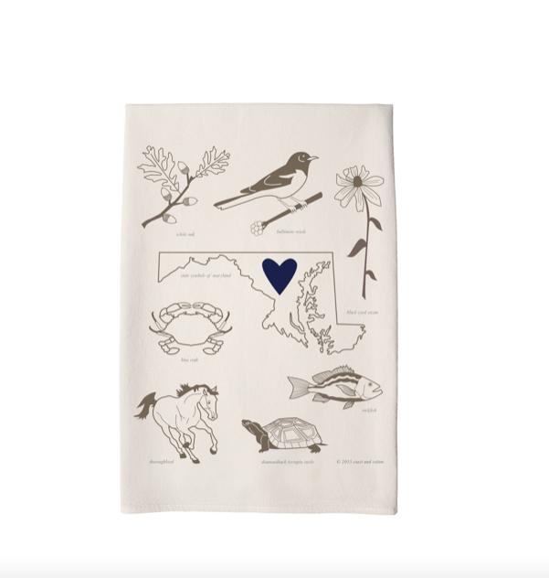 Coast & Cotton Love My State Maryland Tea Towel