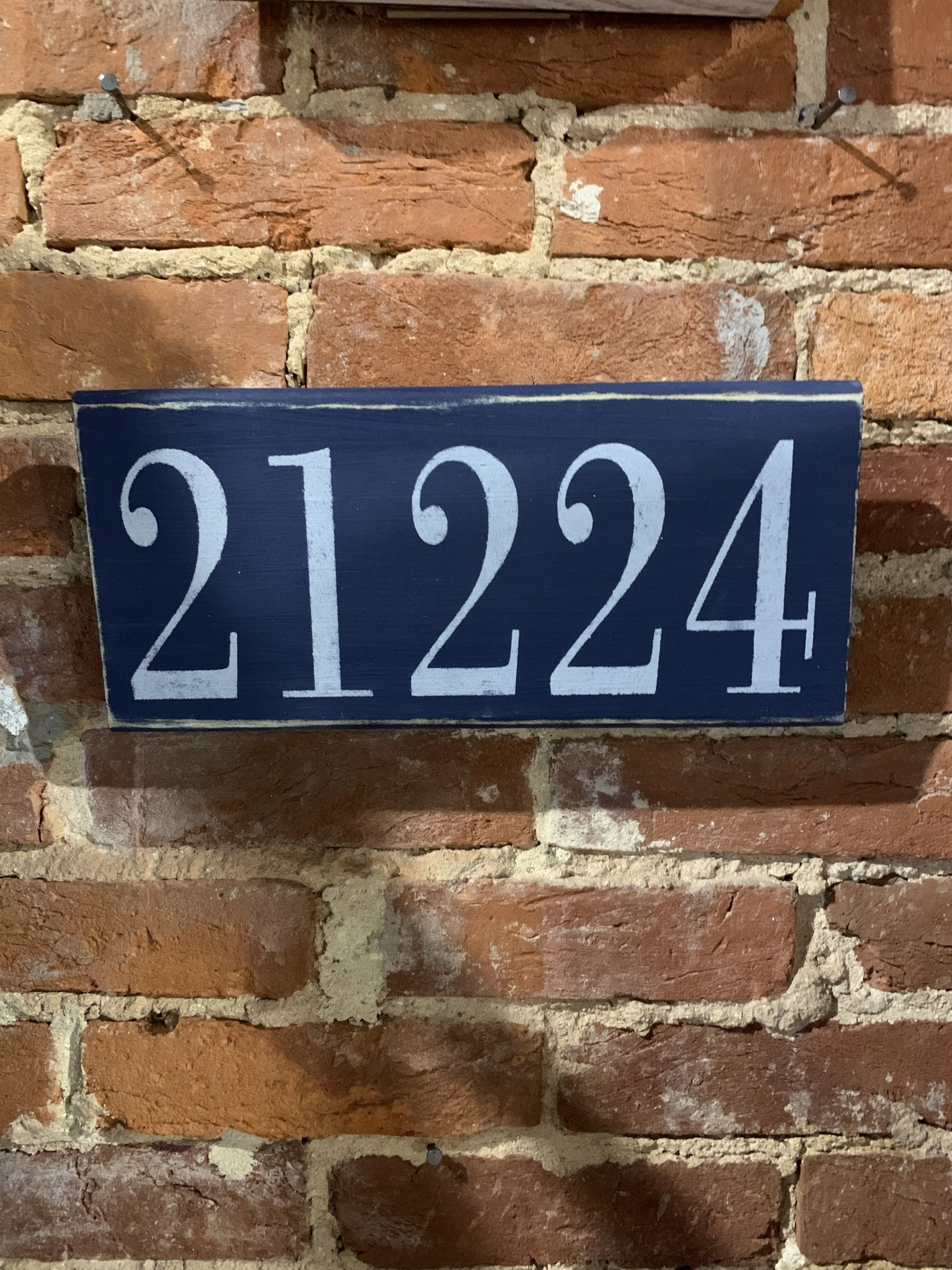 The Painted Mermaid 21224 Zip Code Sign - Navy/White