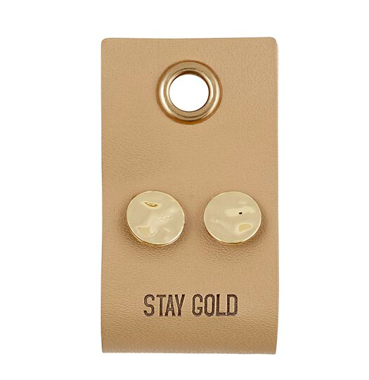 Creative Brands Leather Tag Earrings - Circle