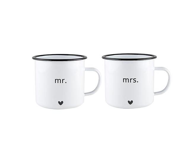 Creative Brands Enamel Mug Set - Mr and Mrs