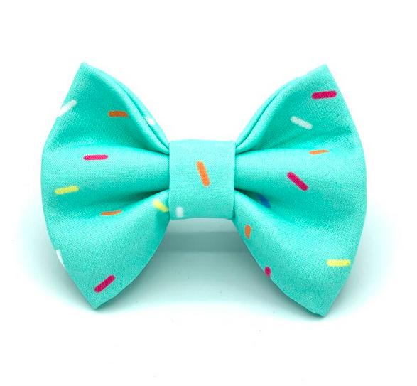 Banjo's Bows Aqua Sprinkles Dog Bow Tie