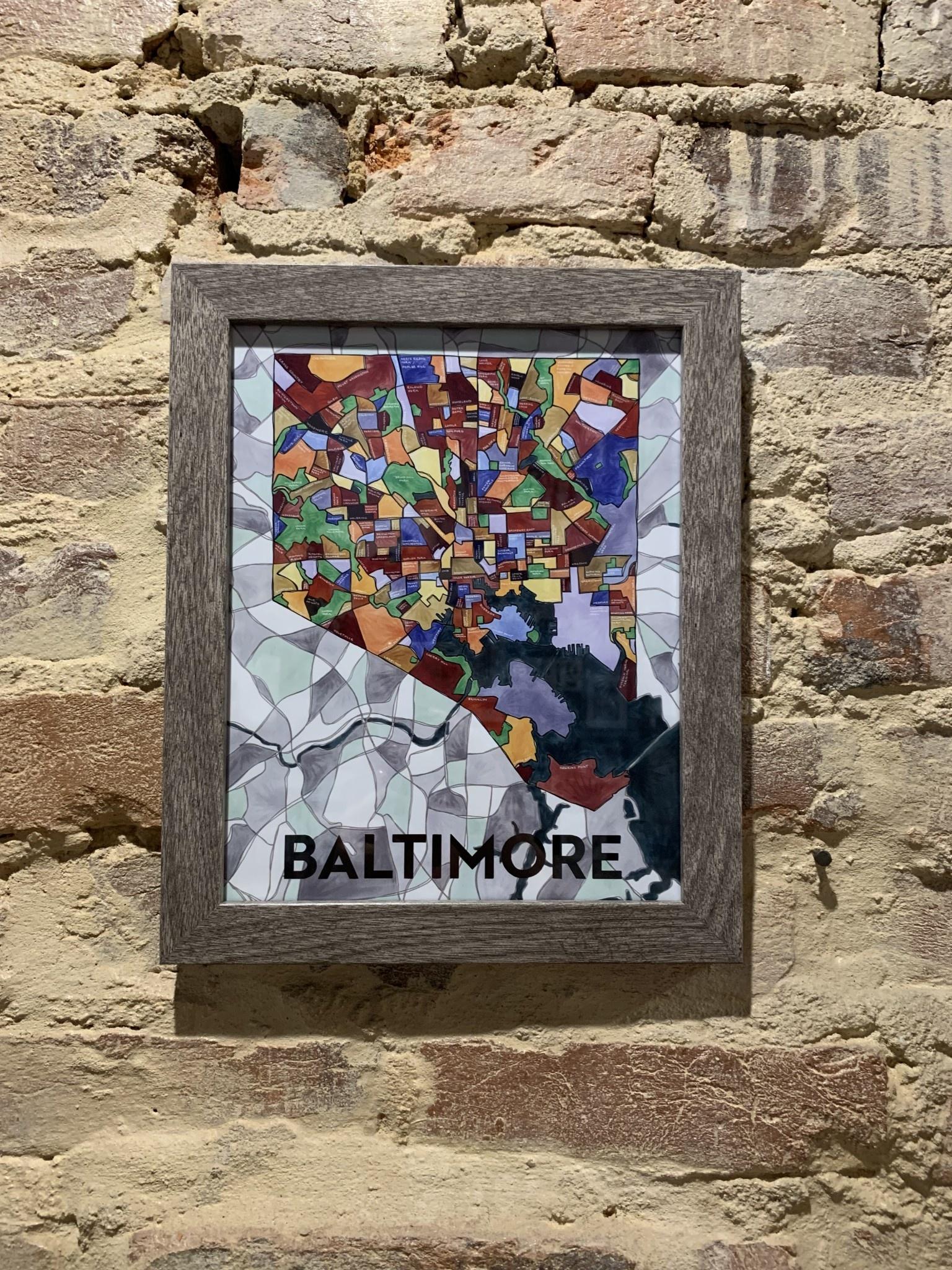 "Cherry Blossom Creative 8"" x 10"" Baltimore Art Print - Gray Frame"