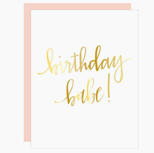 Chez Gagne Birthday Babe Script Letterpress Card