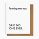 Pretty Alright Goods Easy Parenting Baby Card