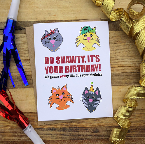 Wild Card Creations Birthday Pawty Cats Card