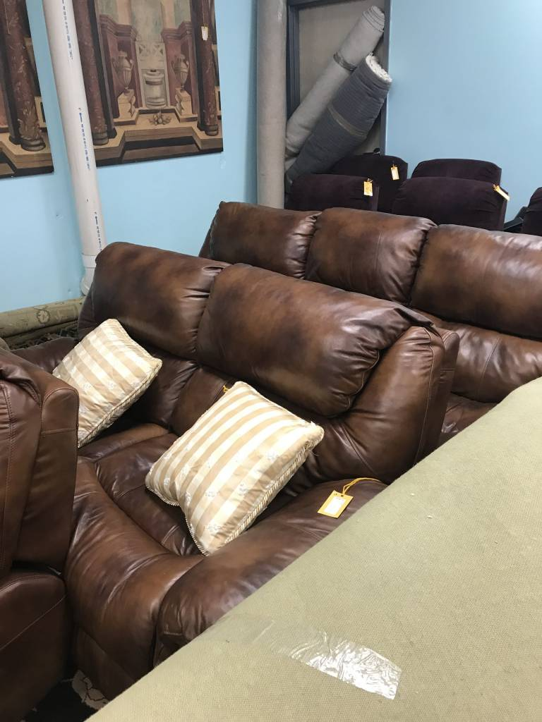 3 Piece Sofa Couch Loveseat Chair Dark Brown Plush Leather