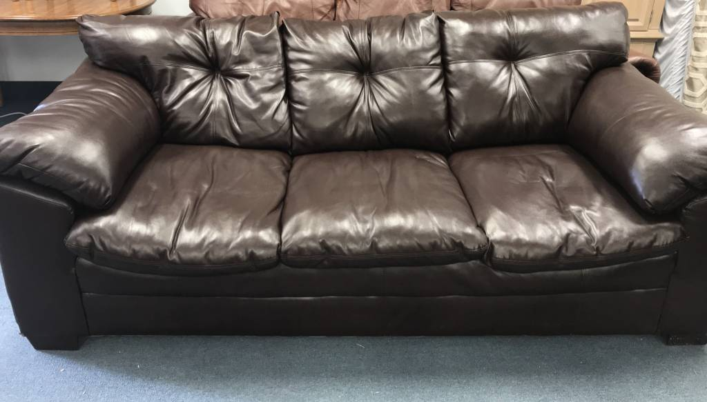 88 Brown Leather Couch Plush Good Great Condition
