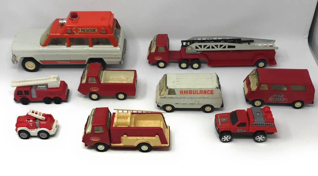 Lot Of 9 Tonka Trucks Vintage Metal Fire Trucks Jeep Rescue