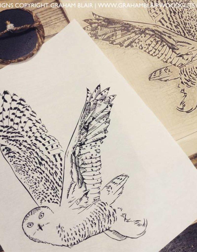 Graham Blair Woodcuts Graham Blair Snowy Owl