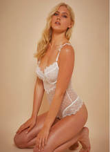 Playful Promises Mesh and Lace Bodysuit Ivory