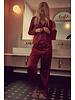 Playful Promises Angela Burgundy Satin Long PJ Set