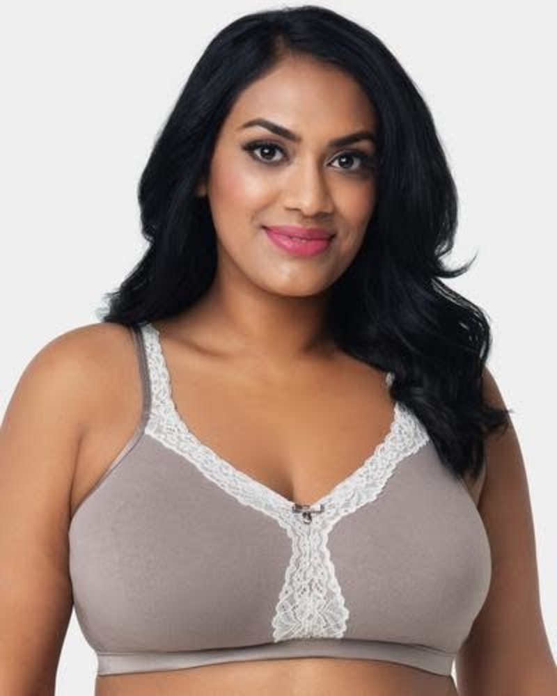 Curvy Couture Cotton Luxe Unlined Wire Free Bra Mauve