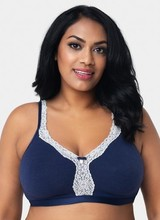 Curvy Couture Cotton Luxe Unlined Wire Free Bra Navy