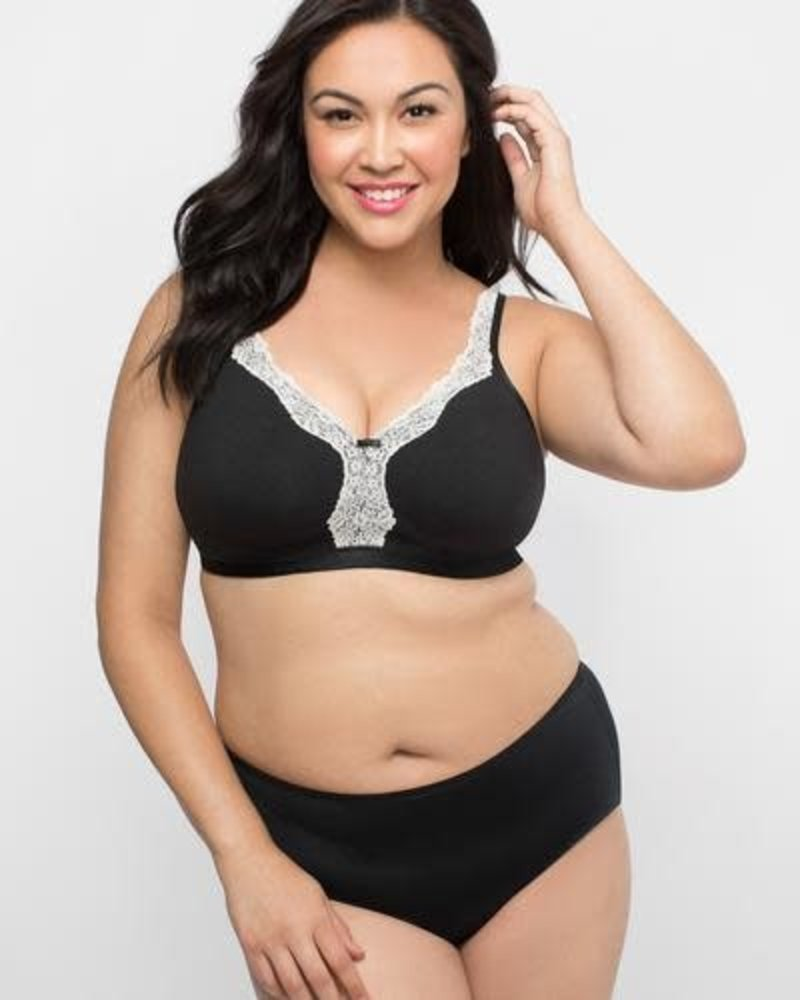 Curvy Couture Cotton Luxe Unlined Wire Free Bra Black