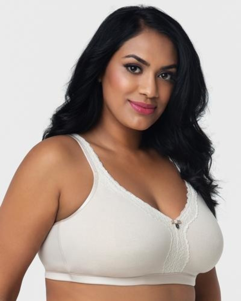 Curvy Couture Cotton Luxe Unlined Wire Free Bra Neutral