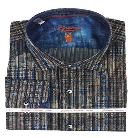 Luchiano Visconti Luchiano Visconti LS Brown/Blue Vertical Shirt