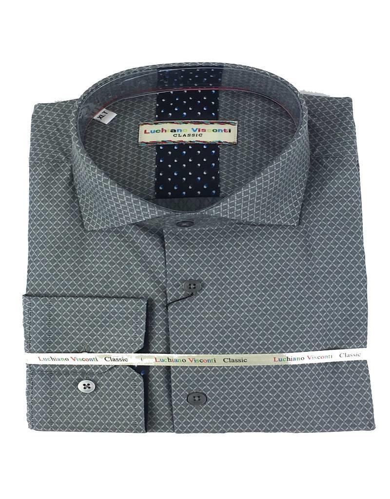 Luchiano Visconti Luchiano Visconti LS Grey Solid Tonal Shirt
