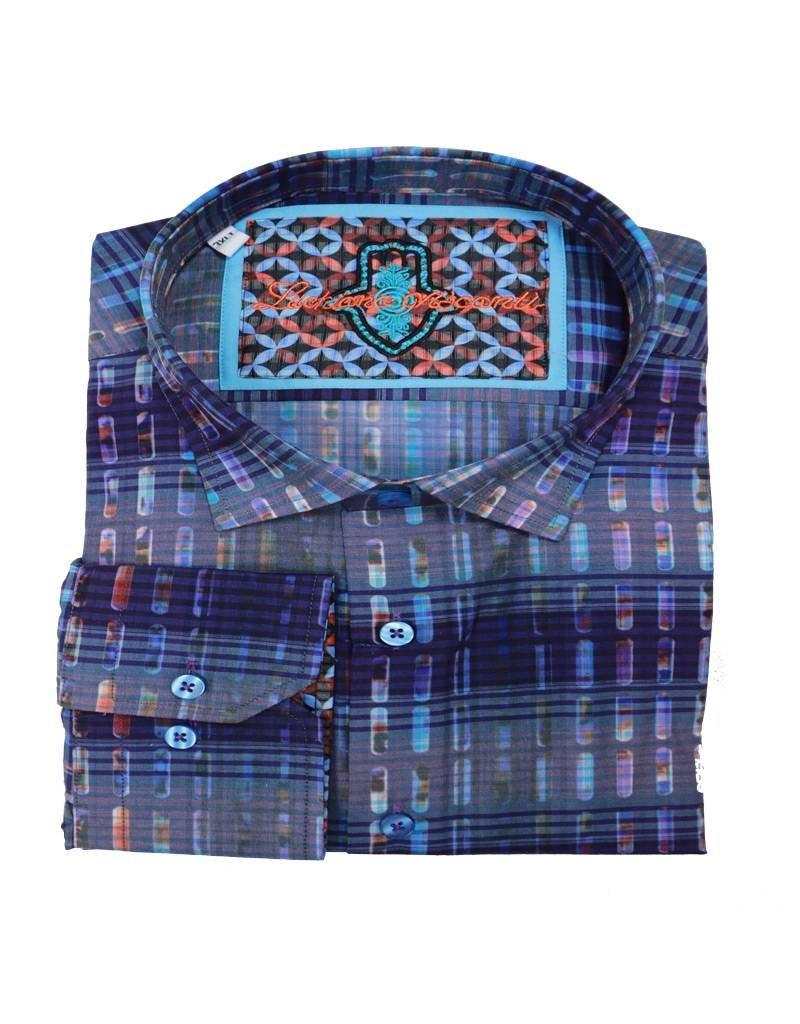 Luchiano Visconti Luchiano Visconti LS Blue Multi Shirt