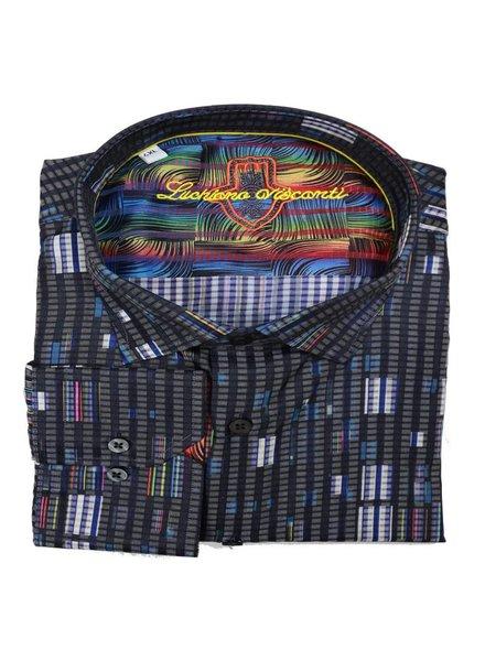 Luchiano Visconti Luchiano Visconti LS Black Multi Shirt