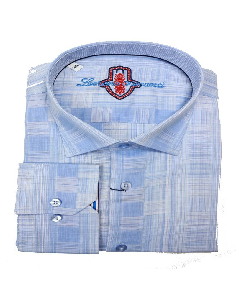 Luchiano Visconti Luchiano Visconti LS Lt Blue Tonal Shirt