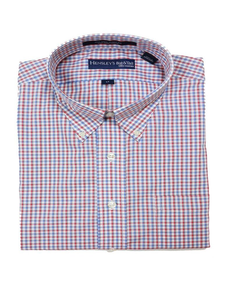 Hensley's Hensley's LS Wrinkle Free Red/Blue Plaid