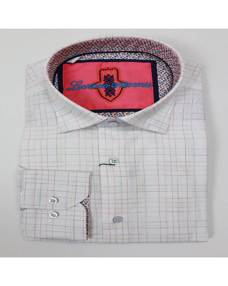 Luchiano Visconti Luchiano Visconti LS White Linear Shirt