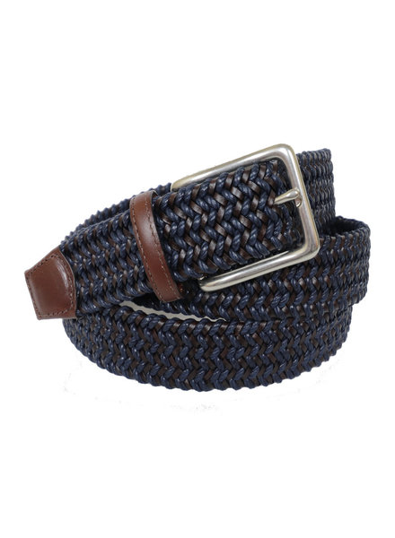 Torino Leather Mini Strand Braid Belt-N/B
