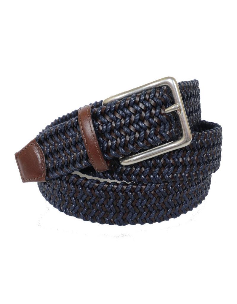Torino Leather Mini Strand Braid Belt-N/B