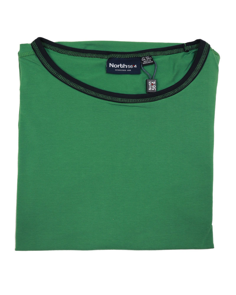 All Size Contrast Collar Green Crew Tee