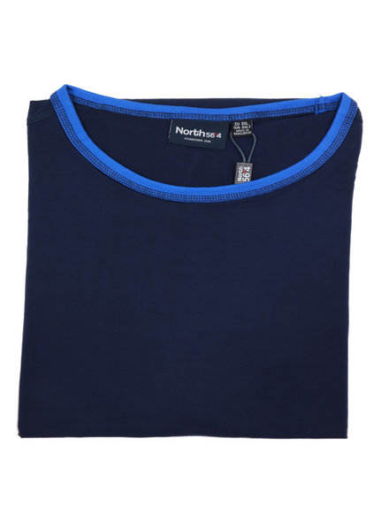 All Size Contrast Collar Navy Crew Tee