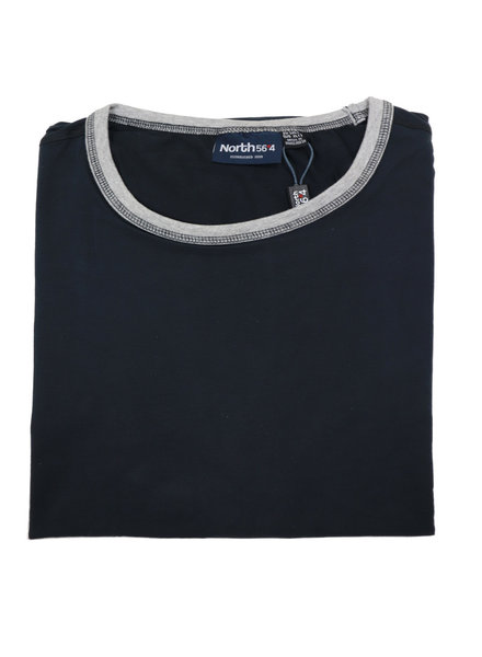 All Size Contrast Collar Black Crew Tee