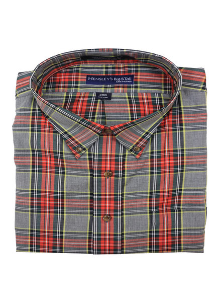 Hensley's Hensley's LS BD Twill Red Plaid Shirt