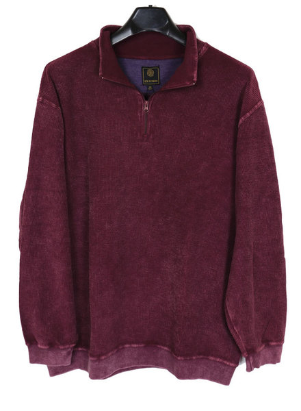 F/X Fusion F/X Fusion 1/4 Zip Burgundy Rev Ribbed Terry