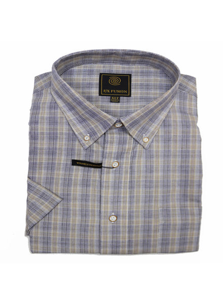 F/X Fusion F/X Fusion SS Tan/Grey Plaid Shirt