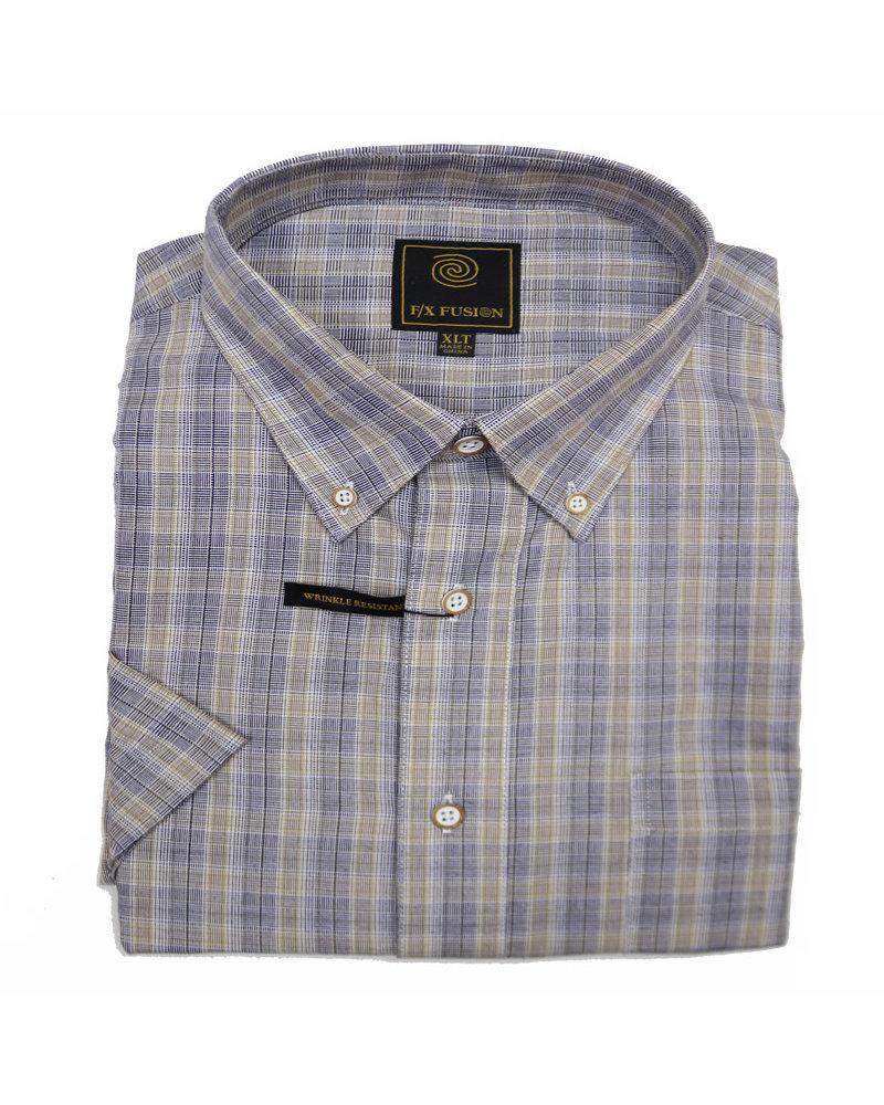 F/X Fusion F/X Fusion SS Tan/Grey Plaid Shirt