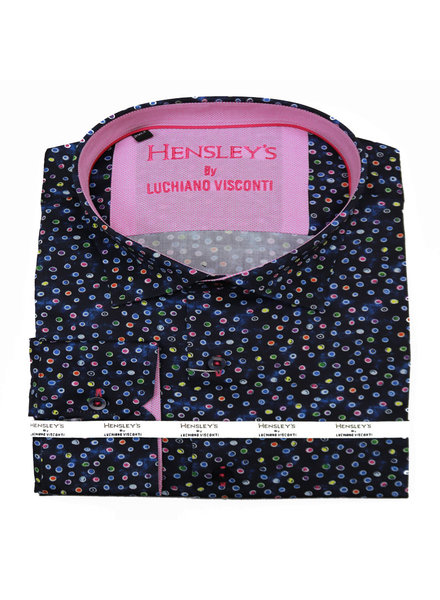 Luchiano Visconti Hensley's LV LS Navy Dot Shirt