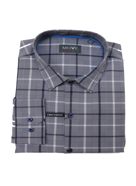 Move LS Navy Plaid Performance